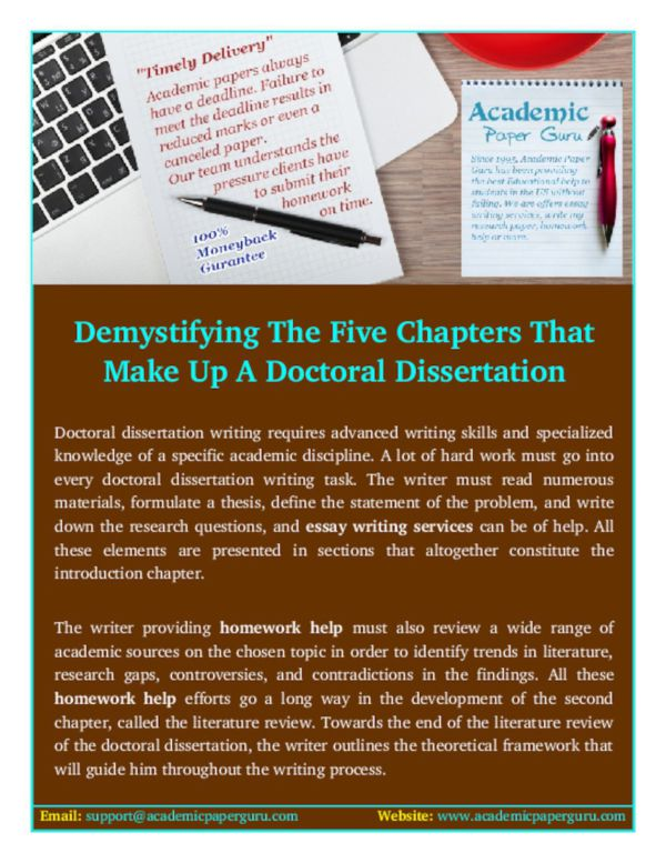 what are the five chapters of a dissertation Here is a generic outline for a five-chapter dissertation the third chapter on methodology varies for a qualitative, quantitative, or mixed-method design a four-chapter dissertation incorporates the literature review into the first chapter.