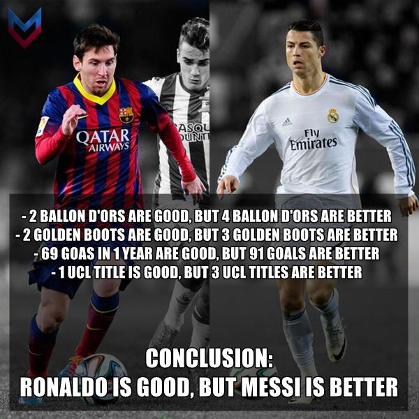 Ronaldo Is Good But Messi Is Better