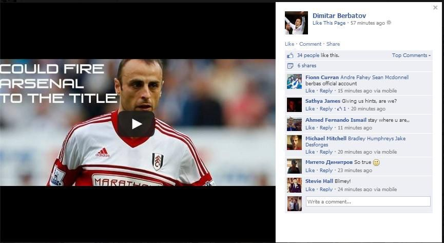 Come And Get Me Plea!  A Dimitar Berbatov Facebook Could Fire Arsenal To The Title