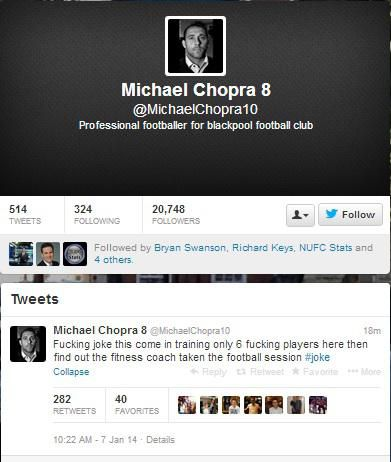 Chopra tweets and deletes sweary message saying only six Blackpool players have turned up for training