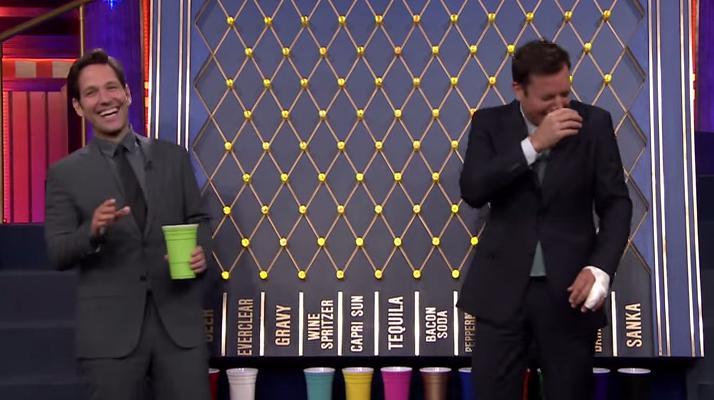 Paul Rudd And Jimmy Fallon Play Plinko Spinoff Drinking