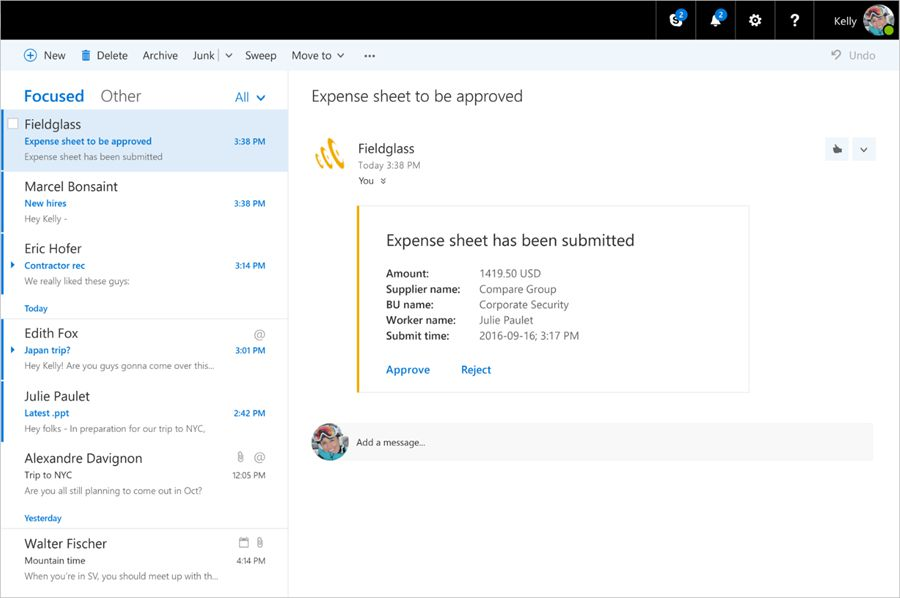 Microsoft announces Actionable Messages in Outlook on the ...