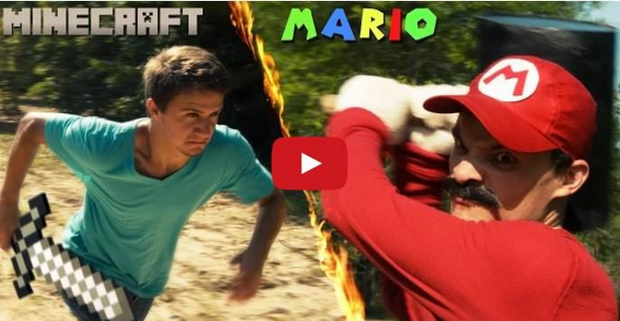 "Mario battles Minecraft Steve in ""real"" life. Guess who ..."