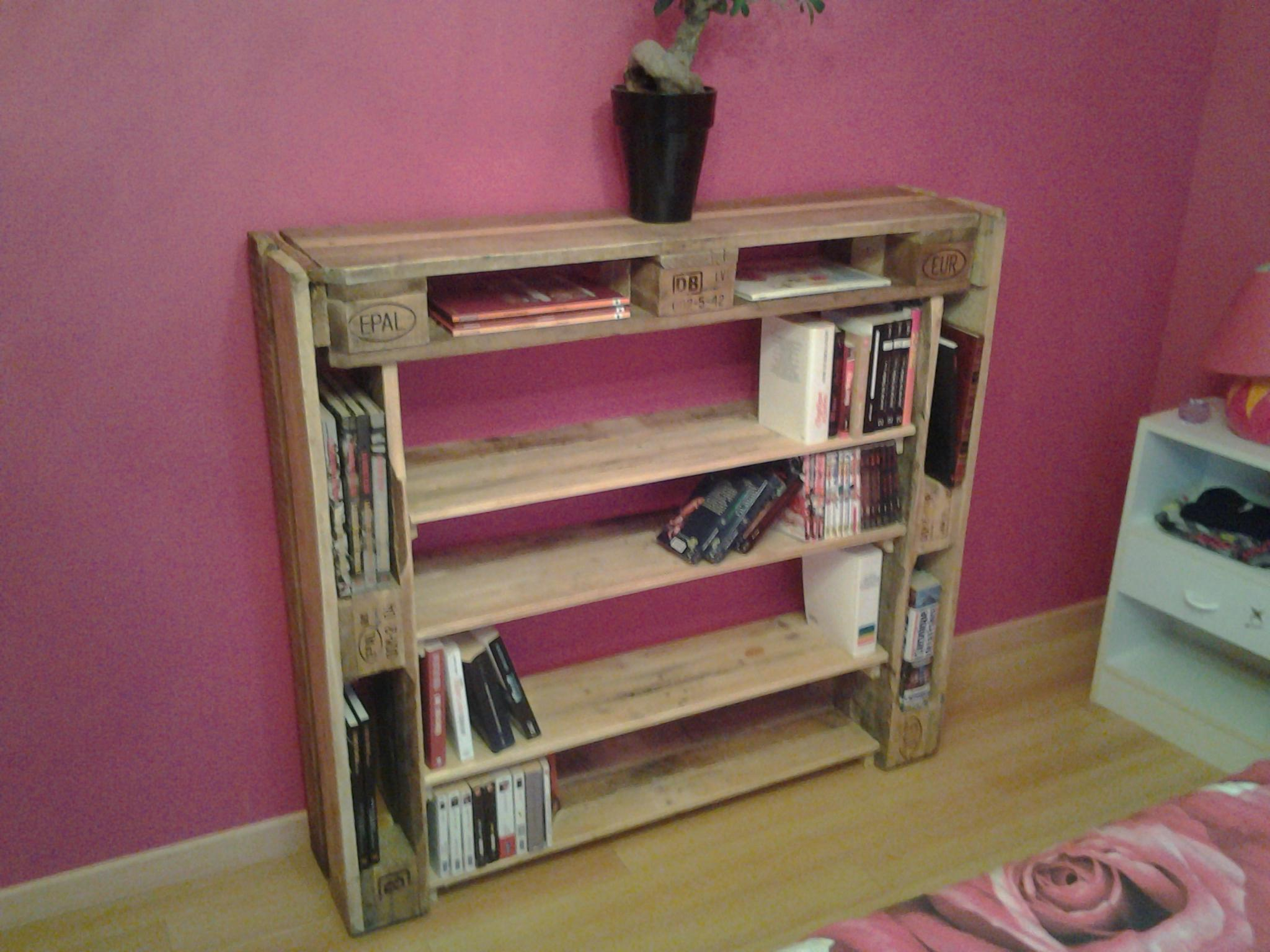 biblioth que pallet bookshelf 1001 pallets. Black Bedroom Furniture Sets. Home Design Ideas