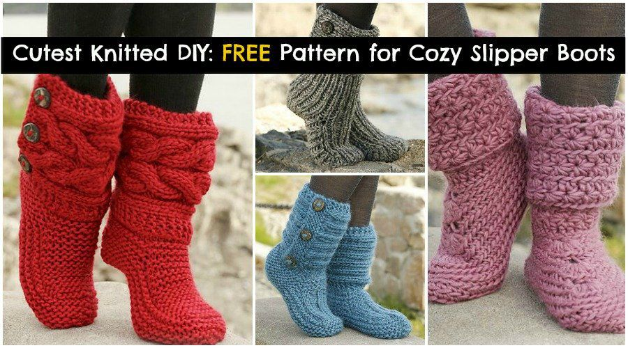 Free Crochet Patterns For Childrens Slipper Boots : Cutest Knitted DIY: FREE Pattern for Cozy Slipper Boots ...