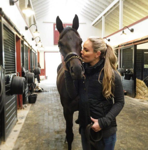 Lindsey Vonn Stops By Under Armour Farms Terez Owens