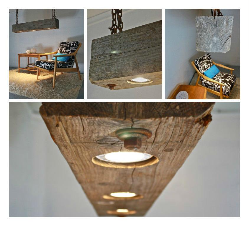 Rustic Hanging Wood Beam Light