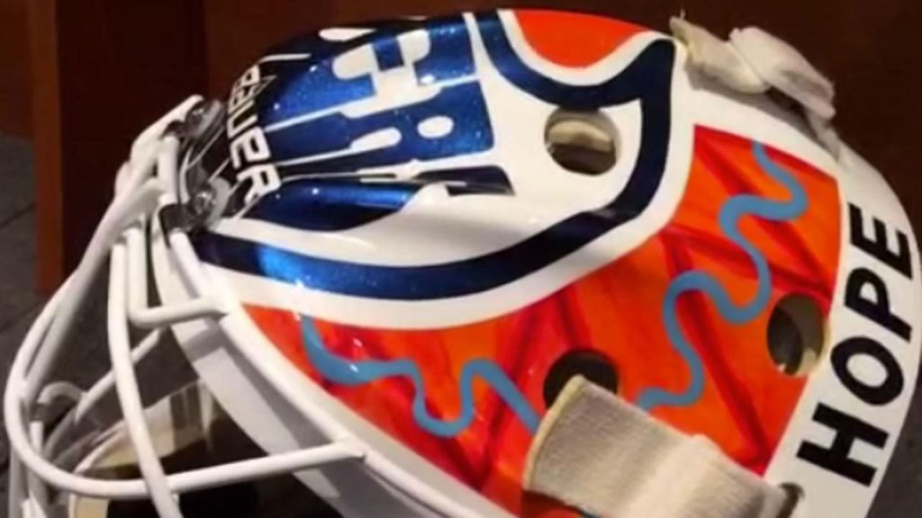 Ben Scrivens paints mask for mental health awareness