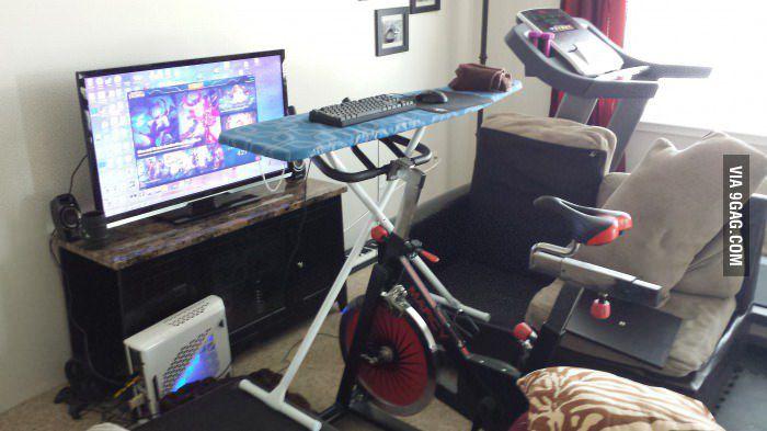 Exercising While Pc Gaming Setup Ironing Board Spin
