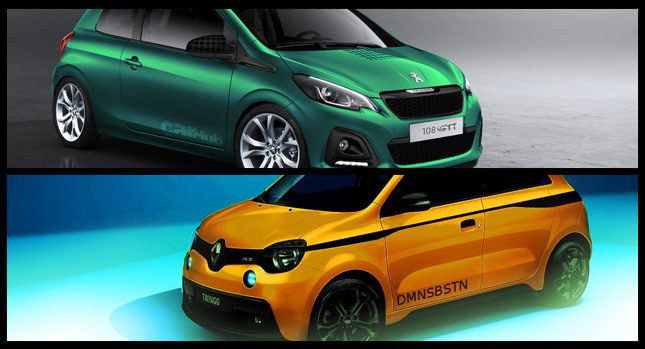 u design new peugeot 108 gti vs renault twingo rs carscoops. Black Bedroom Furniture Sets. Home Design Ideas
