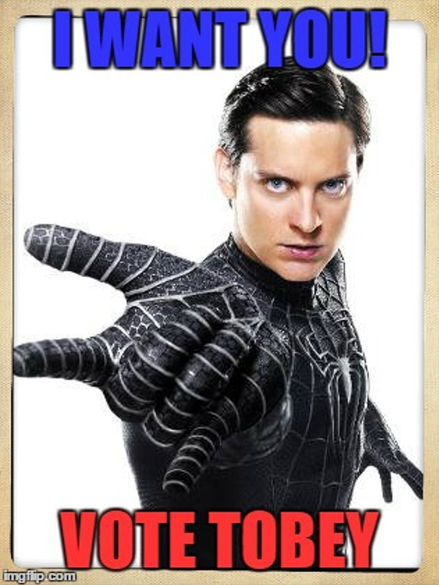 Superhero Electoral Campaign: Tobey Maguire For Spider-Man! Tobey Maguire