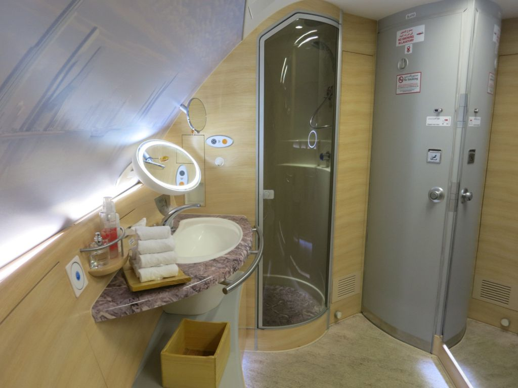 Review: Emirates A380 First Class Suite Shower Spa