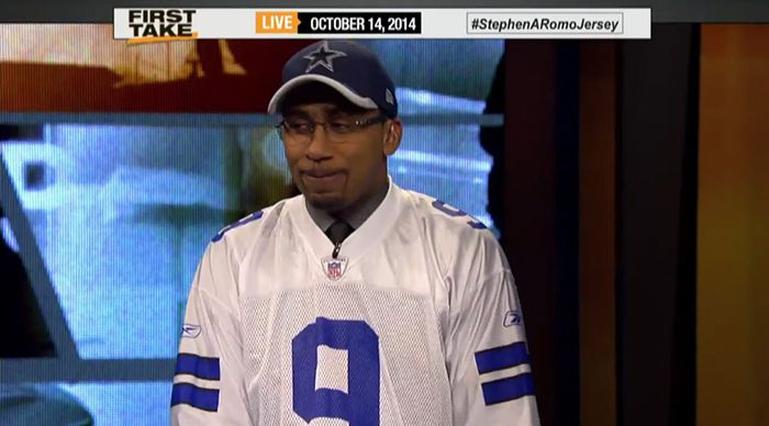 official photos 0172e aa935 Stephen A. Smith Swears ROMO JERSEY After Losing Cowboys BET ...