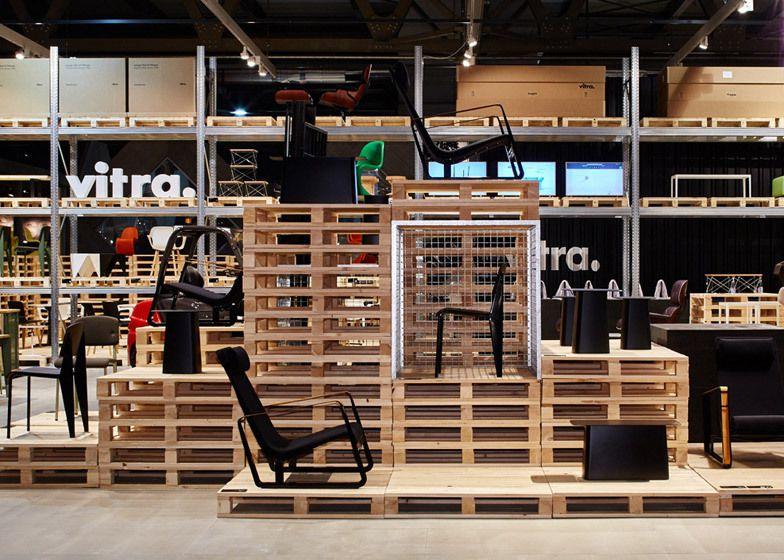 Wooden Exhibition Stand : Schemata make vitra s salone stand from wooden pallets
