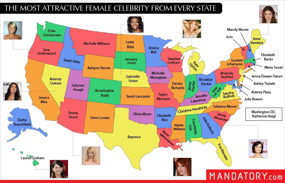 Map Ranks The 50 Hottest Celebrity Girls From Every State-3716