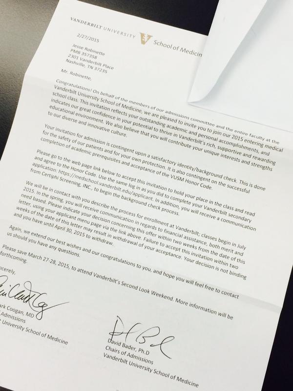 Photo Vanderbilt Football Proudly Tweets QB Patton Robinette's Acceptance Letter To Medical