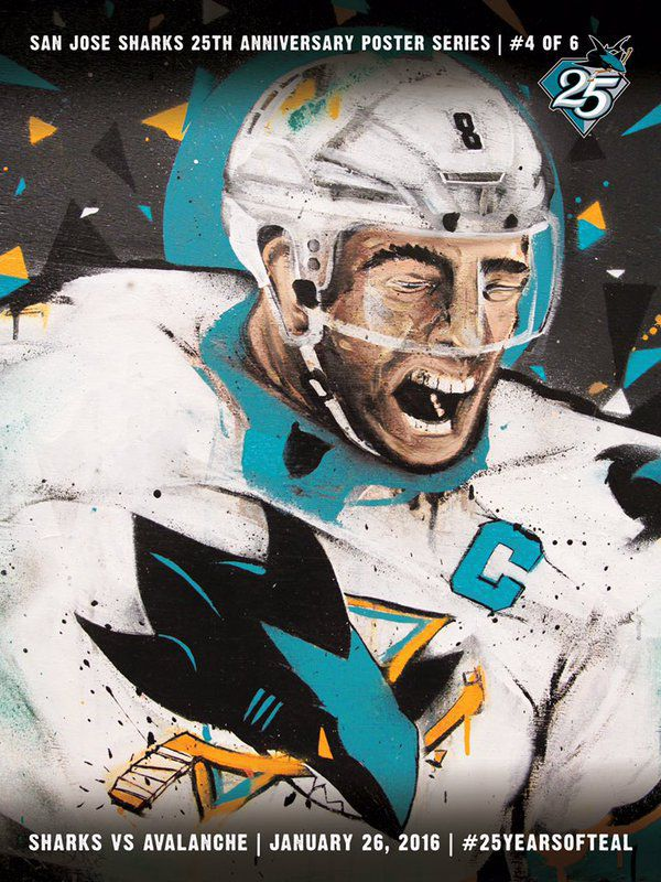 new style d2af8 931ad The San Jose Sharks' 25th Anniversary Poster of Joe Pavelski ...