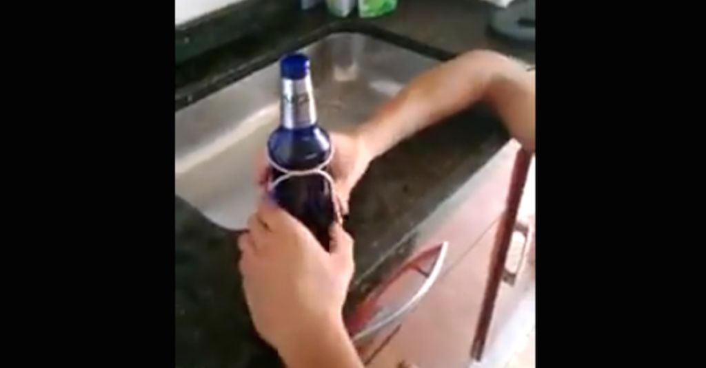 How to cut a glass bottle cleanly in half using a piece of for How to cut glass bottles with string
