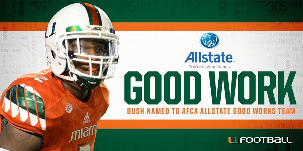 Allstate Team: Bush Named To Allstate AFCA Good Works Team