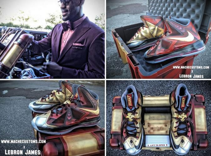 free shipping d9613 aefd9 LeBron James' custom Iron Man 3 LeBron X shoes.