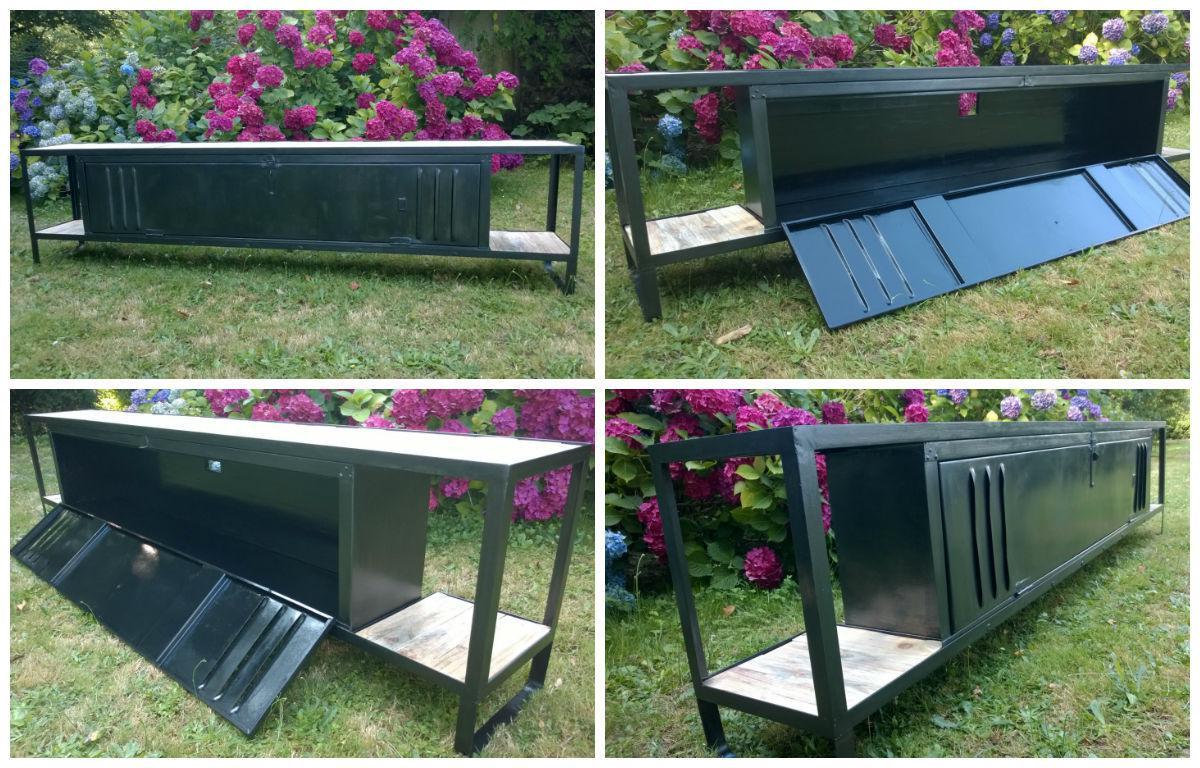 meuble tv avec plateaux en bois de palette tv cabinet with pallet wood shelves 1001 pallets. Black Bedroom Furniture Sets. Home Design Ideas