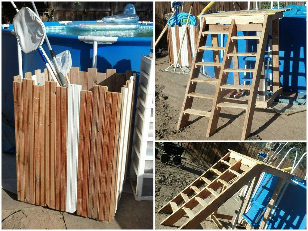 Pallet pool deck pool supplies caddy 1001 pallets - How to build a swimming pool out of wood ...