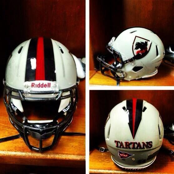 Carnegie Mellon new matte grey football helmets.