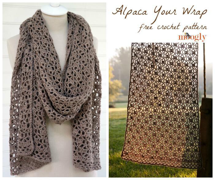 Knitted Scarf Patterns For Alpaca Yarn : Alpaca Your Wrap: Free #Crochet Pattern on Moogly!
