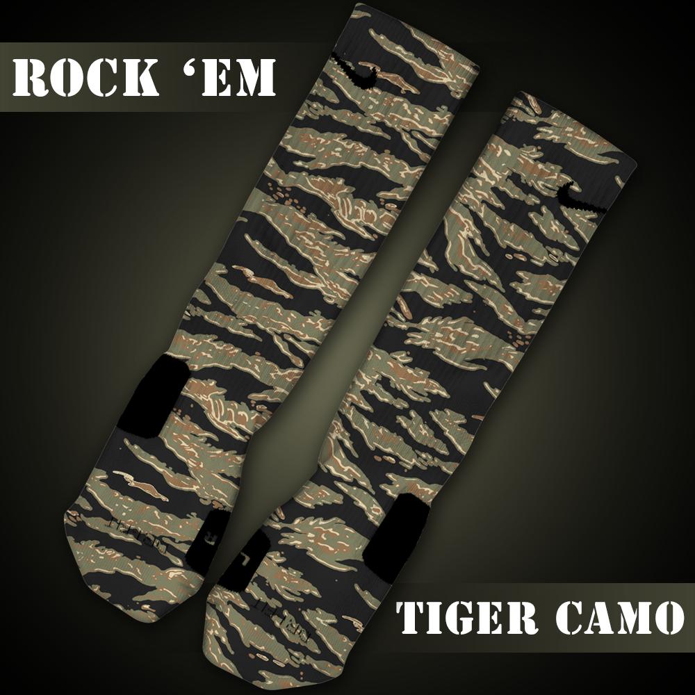 "Custom ""Tiger Camo"" classic Nike Elite socks by @RockEmApparel"