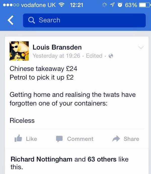 Chinese takeway fail - funny facebook status | Funny Dirty Adult