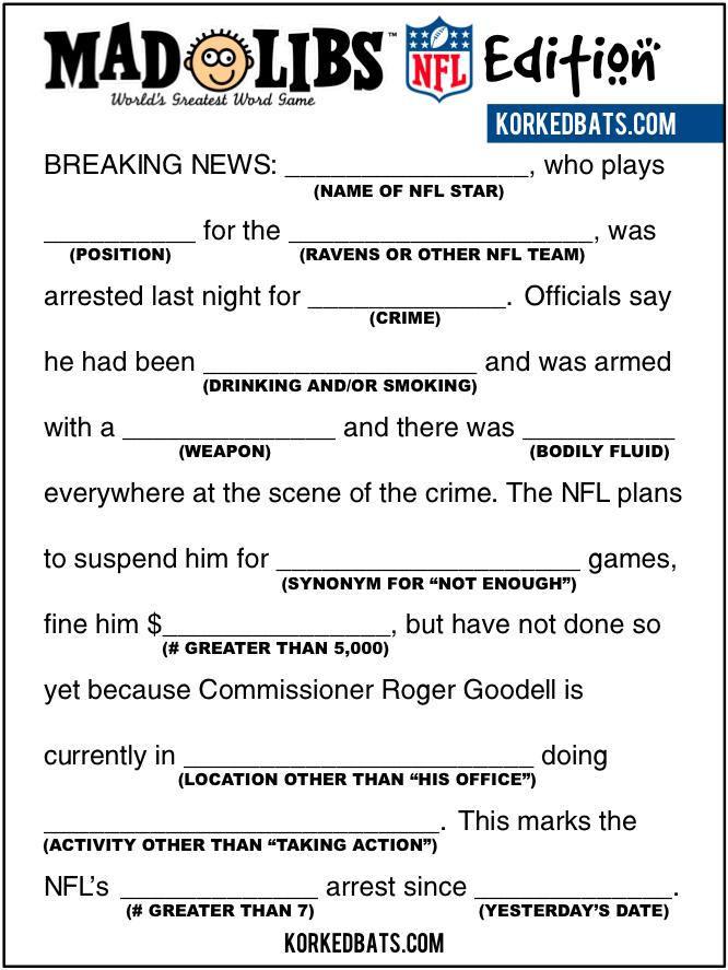 NFL Mad Libs! (Via: @korkedbats)