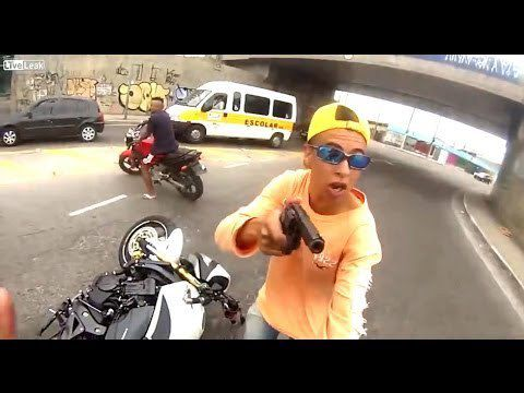 Thief Shot During Attempted Motorbike Hijack - Video From