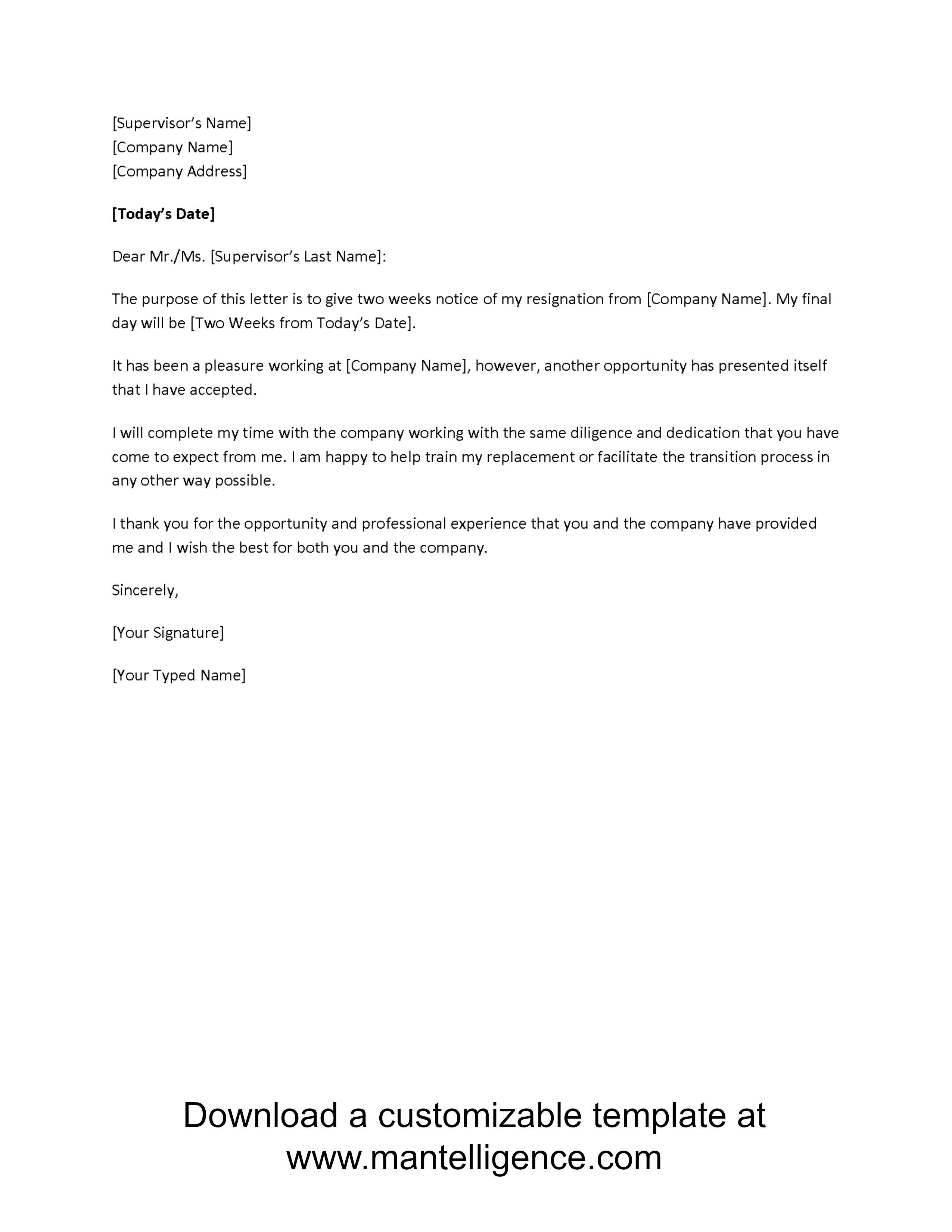 resigntion letter