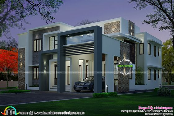 4 bedroom modern house night view and day view - ^