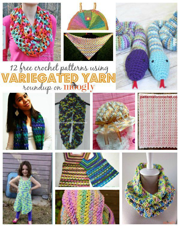 12 Free Crochet Patterns Using Variegated Yarn!