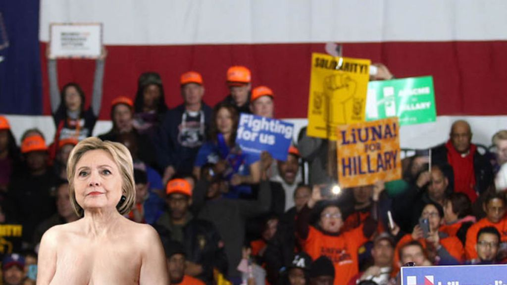 Hillary Clinton Appears Before Rally Completely Nude In -9370