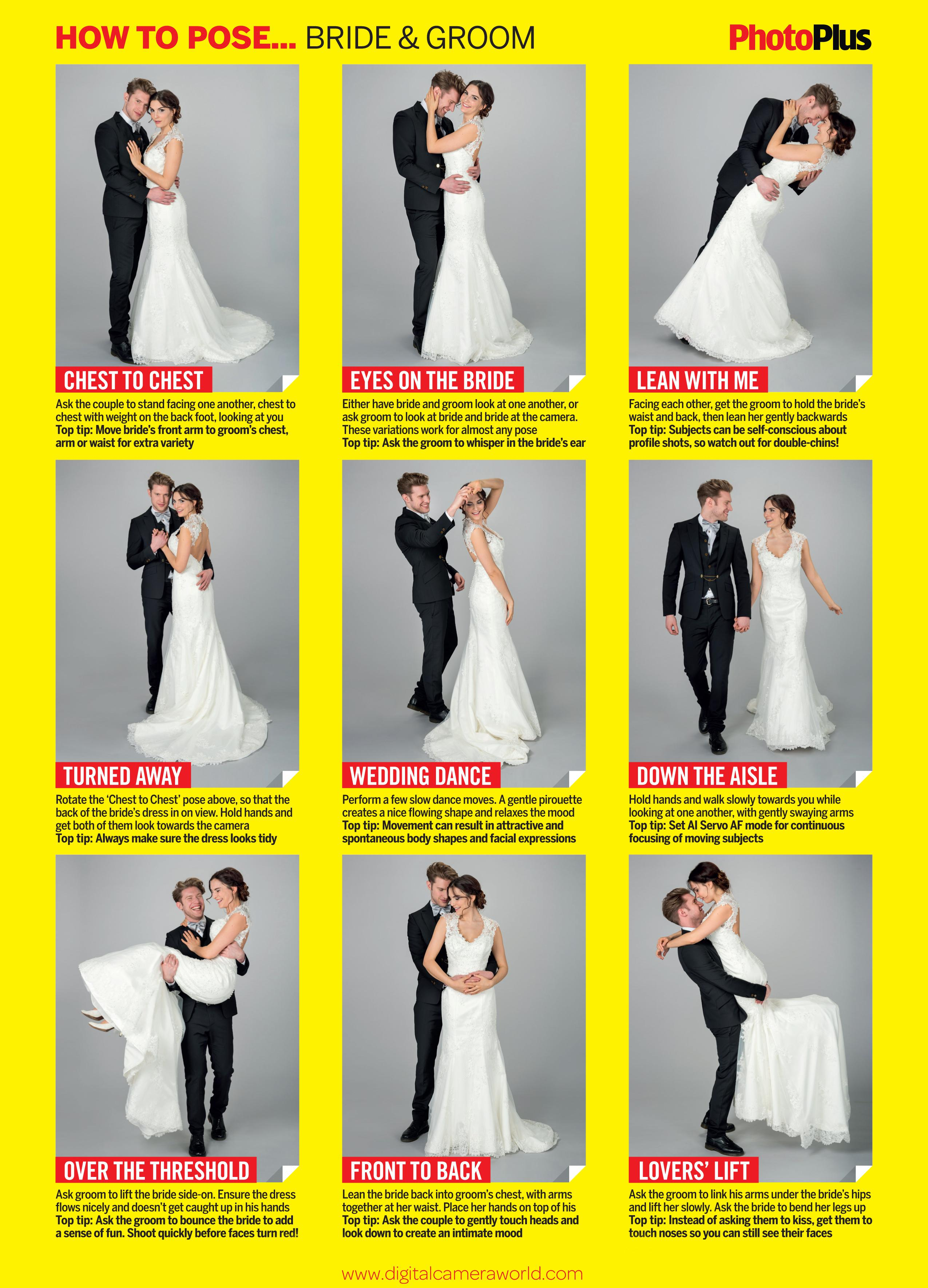 Wedding Photography Guide To Posing: Free Wedding Poses Cheat Sheet: 9 Classic Pictures Of The