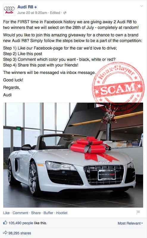 win an audi sweepstakes audi r8 facebook giveaway scam 567