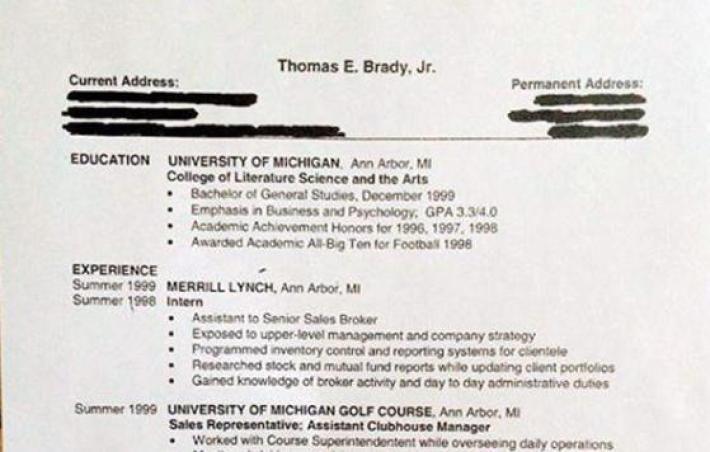 tom brady made a resume in 2000 in football didn t
