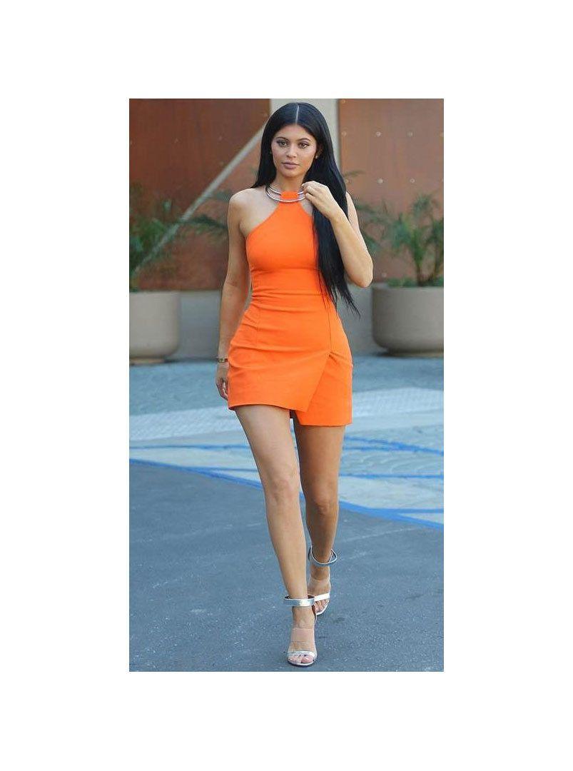 07fccf3a2ba Splurge: Kylie Jenner's LA KaufmanFranco Red Orange Ring Halter Mini Dress