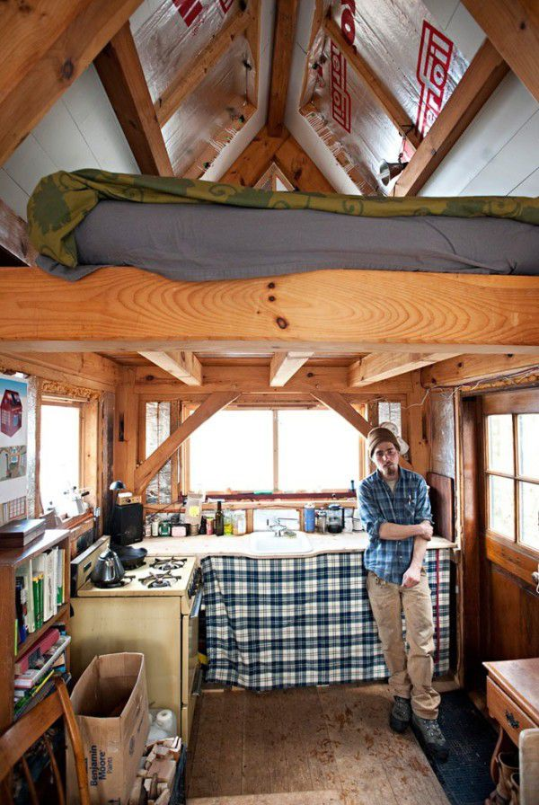 Man Builds 100 Sq Ft Timber Frame Tiny House