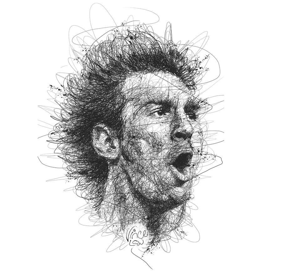 Scribble Drawing Portraits : Mind blowing scribble portraits by vince low hq photos