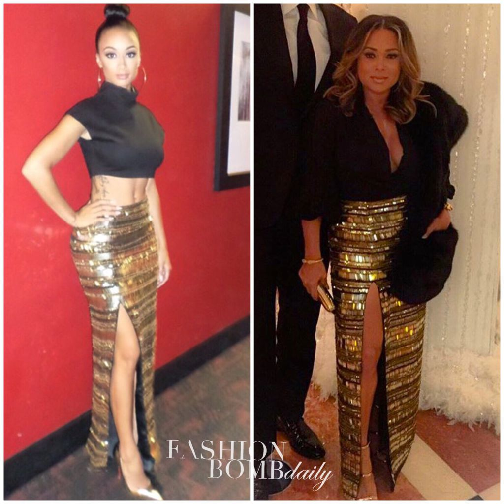 Who Wore It Better Draya Michele Vs Tamia Hill In Virgos Lounge 39 S Gold Embellished Side Slit
