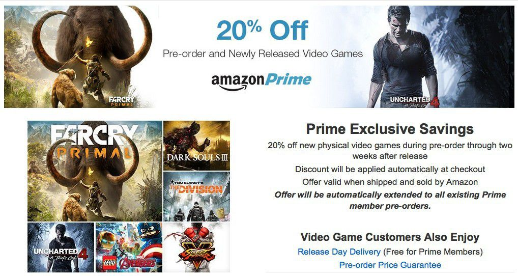 amazon prime subscribers can now get 20 off pre order recently released games. Black Bedroom Furniture Sets. Home Design Ideas