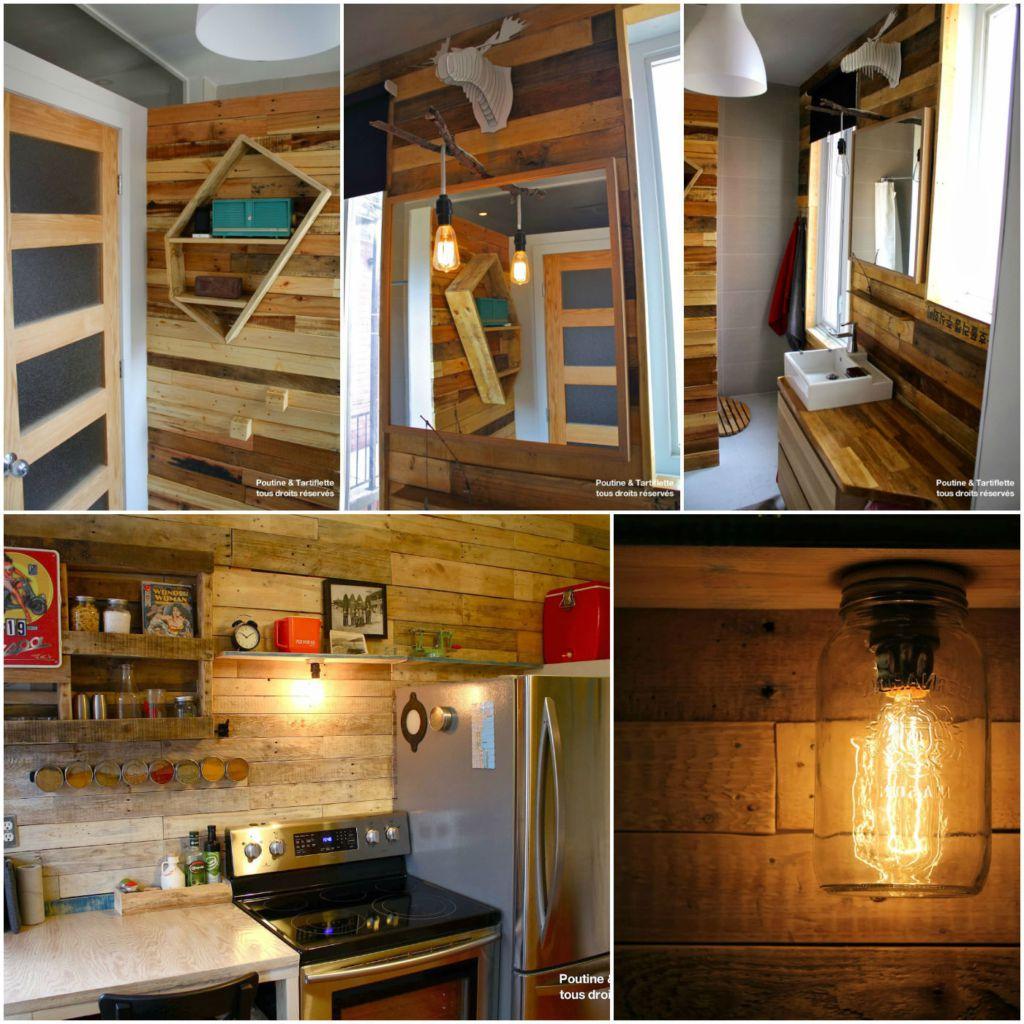 salle de bain avec mur de bois de palette pallet walls bathroom kitchen 1001 pallets. Black Bedroom Furniture Sets. Home Design Ideas