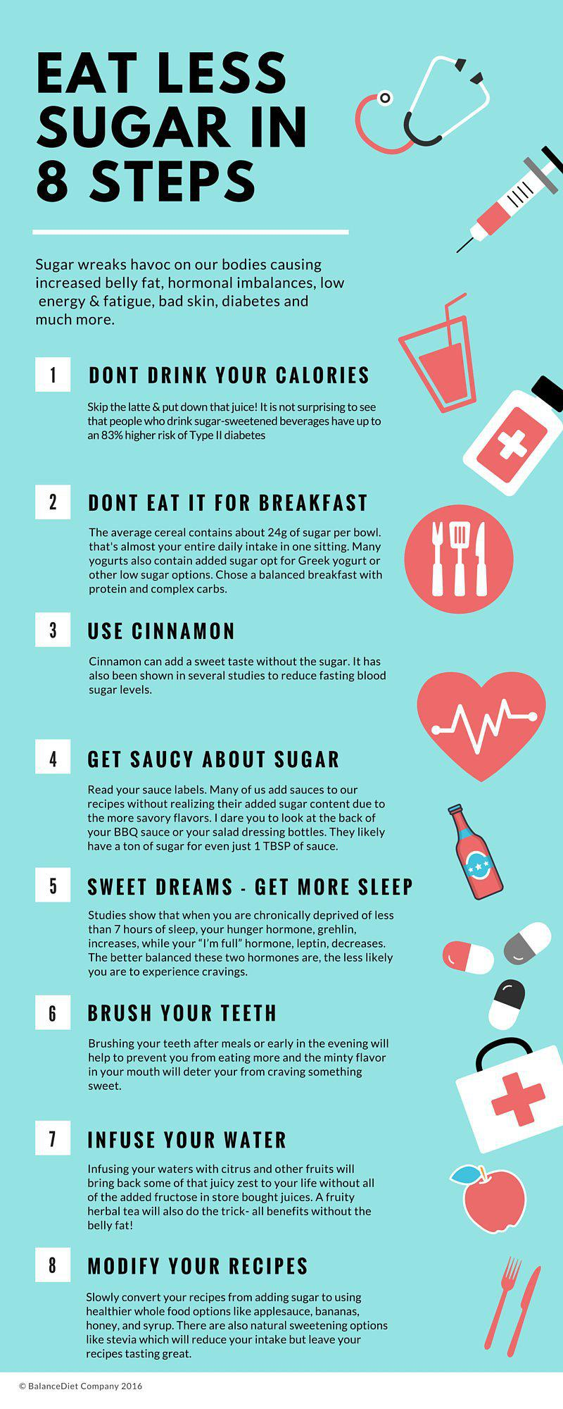 Use these 8 tips to effectively cut down your sugar intake infographic - Five smart uses of sugar ...