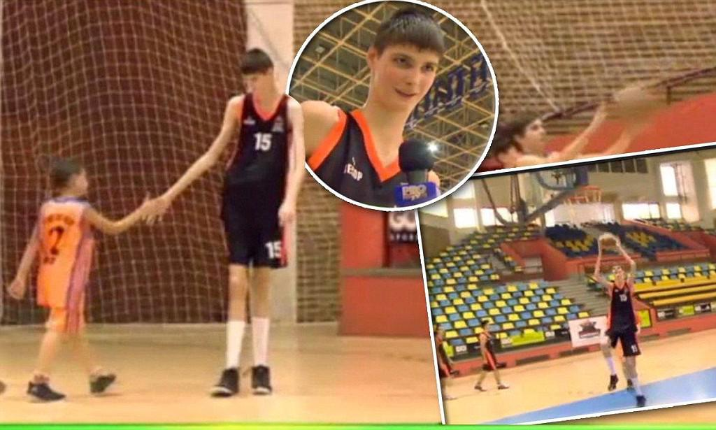 Meet the 7ft 4ins basketball player... aged just 13