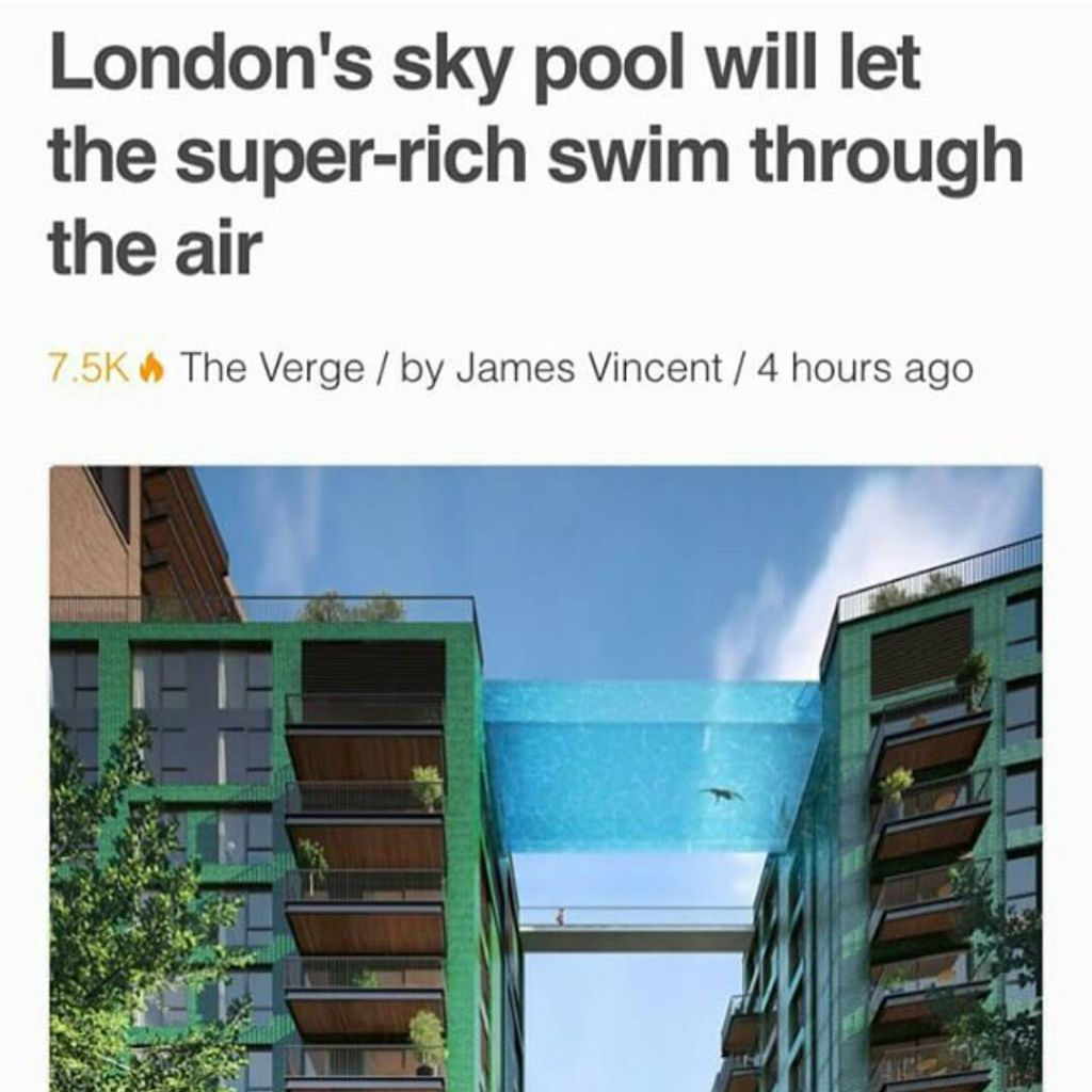 Developers In London Are Building What They Claim Is The World 39 S First Sky Pool A 25 Meter