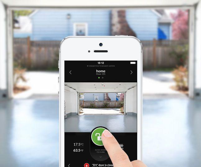 App controlled garage door opener for App to open garage door