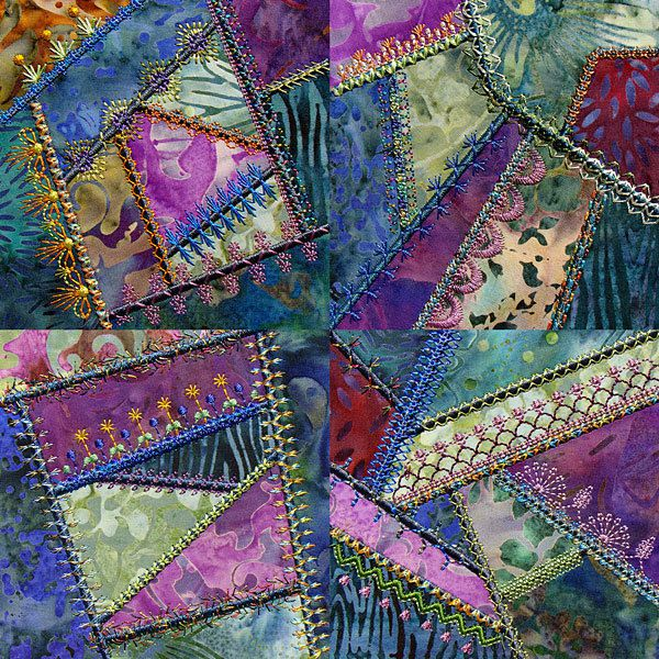 Decorative embroidery stitches crazy quilting